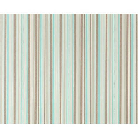 Stripe non-woven wallpaper wall EDEM 967-25 Luxury classic style taupe turquoise blue 10.65 sqm (114 sq ft)
