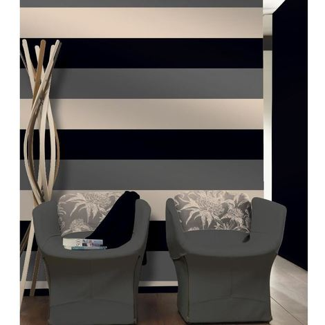 Stripe Wallpaper Bold 3 Colour Pattern Textured Black Silver Cream