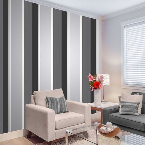 Stripe Wallpaper Bold Charcoal Grey Black White Silver Luxury Modern