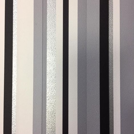 Stripe Wallpaper Metallic Shiny Silver Grey Black White Barcode Textured Lined