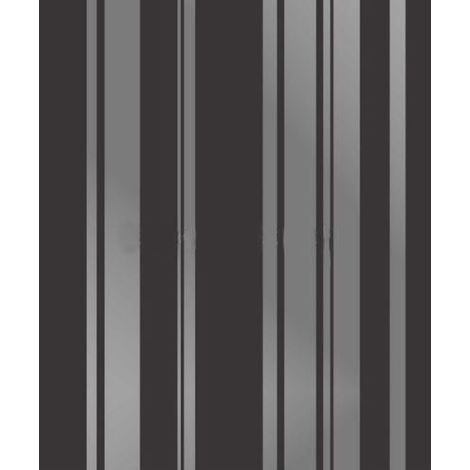 Stripe Wallpaper Striped Stripey Foils Metallic Shiny Silver Black Fine Decor