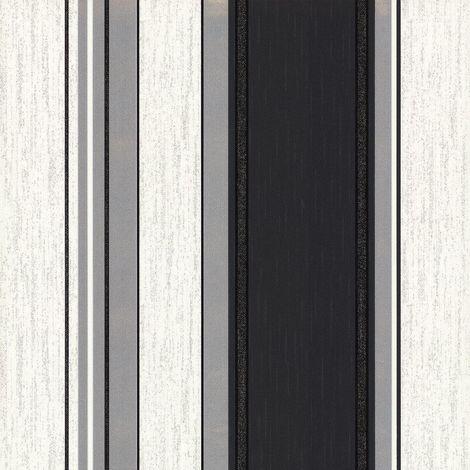 Stripe Wallpaper Striped Stripey Glitter Effect Vinyl Textured Synergy Ebony