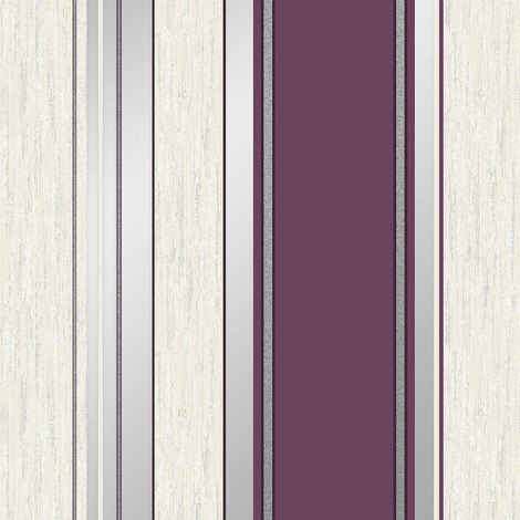 Stripe Wallpaper Striped Stripey Glitter Effect Vinyl Textured Synergy Plum