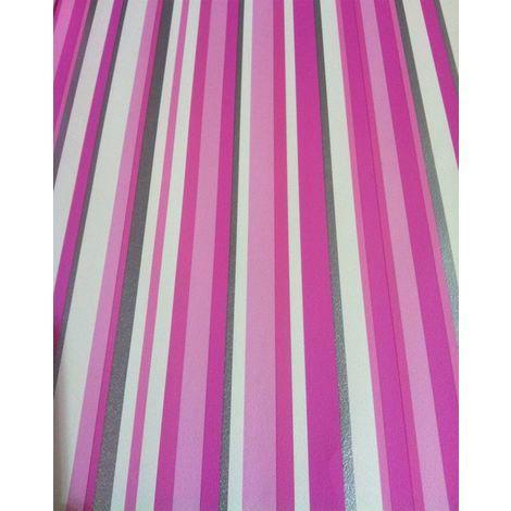 Stripe Wallpaper Stripey Striped Metallic Silver Pink White Bold Washable