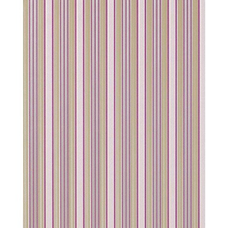 Stripe wallpaper wall EDEM 825-25 deep embossed heavyweight light ivory lilac green-beige grey 75 sq feet