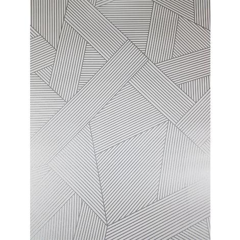 Striped Geometric Glitter Wallpaper Metallic White Silver Crown Emporium Duke