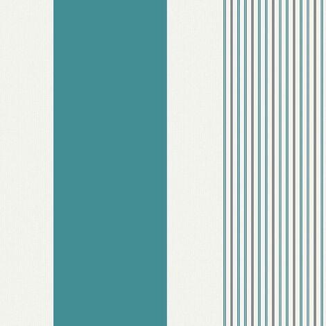 Striped Glitter Wallpaper Holden Decor Teal White Grey Textured Vinyl
