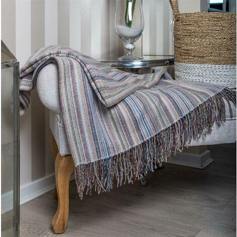 Striped Throw Blanket Soft 100% Acrylic Sofa Throwover Grey Tasseled 127x152cm