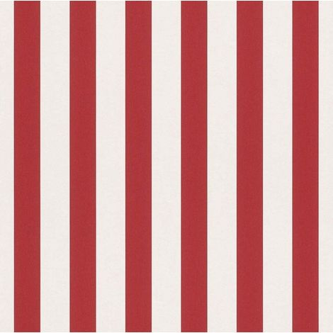Stripes Kids Teens Room Wallpaper Stripe Red White Nursery Feature Wall Rasch