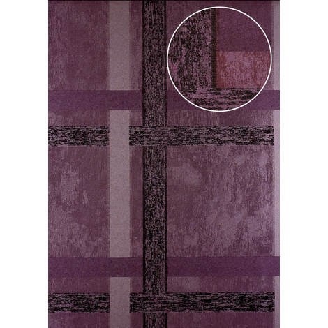 Stripes wallpaper wall Atlas 24C-5060-2 non-woven wallpaper smooth with geometric shapes and metallic highlights purple pastel-violet copper 7.035 m2 (75 ft2)