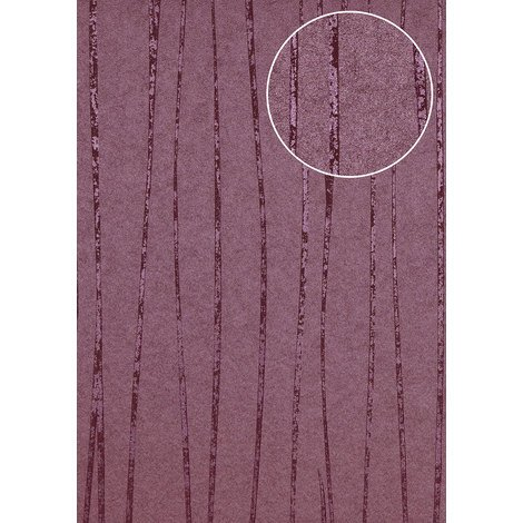 Stripes wallpaper wall Atlas COL-569-0 non-woven wallpaper smooth design shimmering violet red-lilac pearl-violet 5.33 m2 (57 ft2)