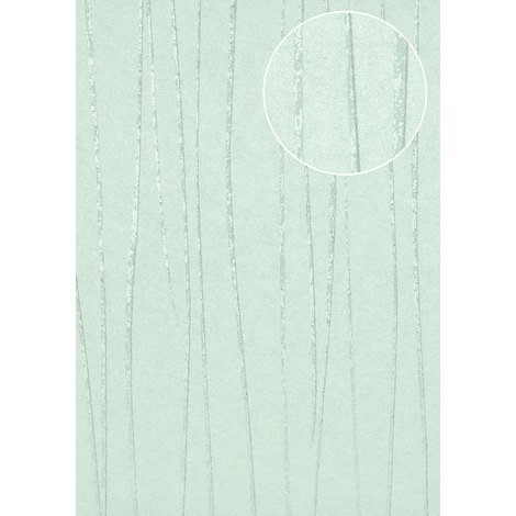 Stripes wallpaper wall Atlas COL-569-9 non-woven wallpaper smooth design shimmering turquoise pastel-turquoise mint-green 5.33 m2 (57 ft2)