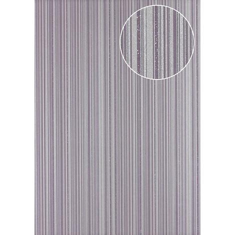 Stripes wallpaper wall Atlas PRI-5047-3 non-woven wallpaper smooth design glittering violet silver pastel-violet platinum-grey 5.33 m2 (57 ft2)