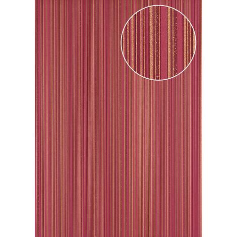 Stripes wallpaper wall Atlas PRI-5047-4 non-woven wallpaper smooth design glittering red gold claret-violet wine-red 5.33 m2 (57 ft2)