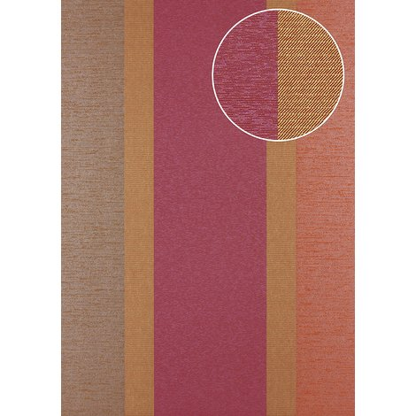 Stripes wallpaper wall Atlas PRI-546-5 non-woven wallpaper smooth with a fabric look and metallic highlights red gold claret-violet tomato-red 5.33 m2 (57 ft2)