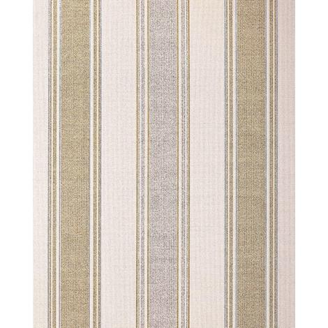Stripes-wallpaper wall EDEM 508-20 blown vinyl wallpaper textured with a fabric look and metallic highlights cream light-ivory pearl-gold silver 5.33 m2 (57 ft2)