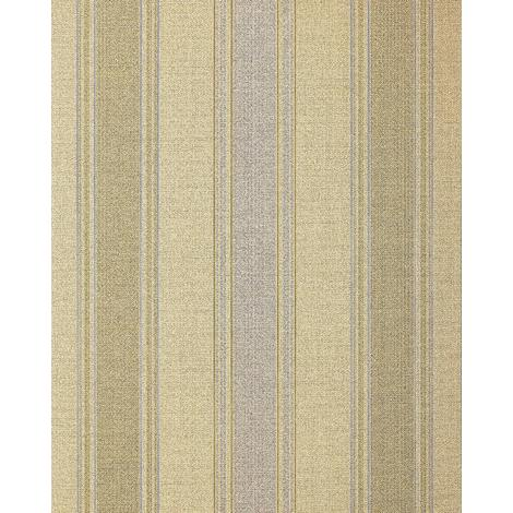 Stripes-wallpaper wall EDEM 508-21 blown vinyl wallpaper textured with a fabric look and metallic highlights beige saffron-yellow pearl-gold silver 5.33 m2 (57 ft2)