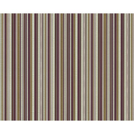 Stripes wallpaper wall EDEM 81161BR35 hot embossed non-woven wallpaper with tangible texture and metallic highlights violet brown bronze silver 10.65 m2 (114 ft2)