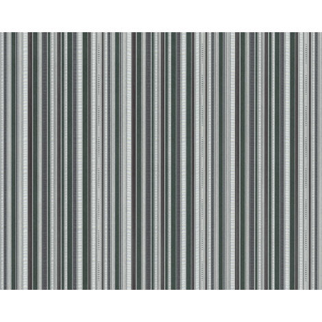 Stripes wallpaper wall EDEM 81161BR38 hot embossed non-woven wallpaper with tangible texture and metallic highlights green anthracite grey silver 10.65 m2 (114 ft2)