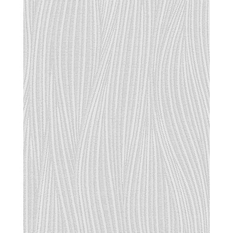 Stripes wallpaper wall EDEM 82050BR50 vinyl wallpaper textured with wavy lines subtly glittering white 7.95 m2 (85 ft2)