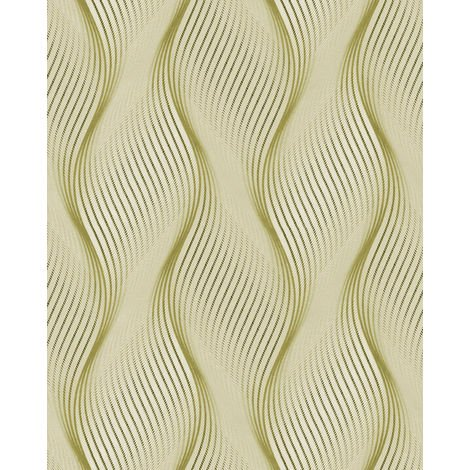 Stripes wallpaper wall EDEM 85030BR35 vinyl wallpaper slightly textured with wavy lines and metallic highlights green olive yellow white silver 5.33 m2 (57 ft2)