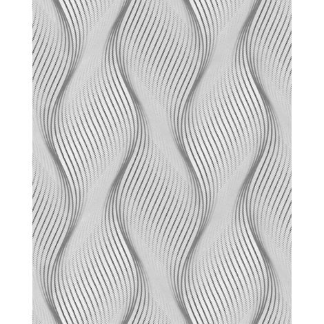 Stripes wallpaper wall EDEM 85030BR36 vinyl wallpaper slightly textured with wavy lines and metallic highlights grey light grey white silver 5.33 m2 (57 ft2)