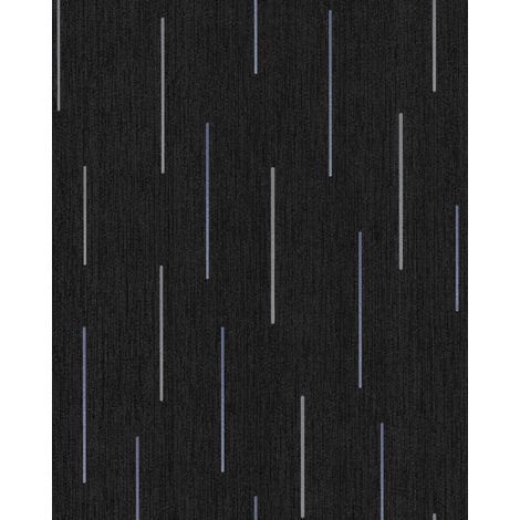 Stripes wallpaper wall EDEM 85043BR26 vinyl wallpaper slightly textured with graphical pattern and metallic highlights anthracite black grey violet blue silver 5.33 m2 (57 ft2)