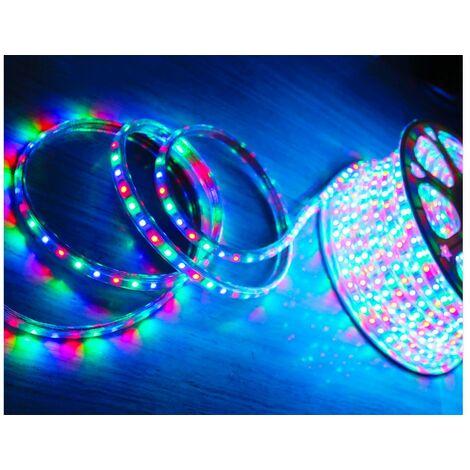 STRISCIA STRIP LED ESTERNO 5M METRI SMD RGB MULTIEFFETTI 5050 220V MULTICOLORE