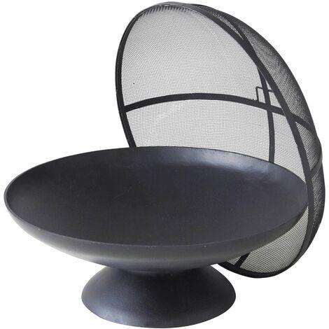 STROMBOLI - Brasero en Fonte avec Cloche de Protection - Chauffage Extérieur - Ambiance Cosy et Chaleureuse - Noir