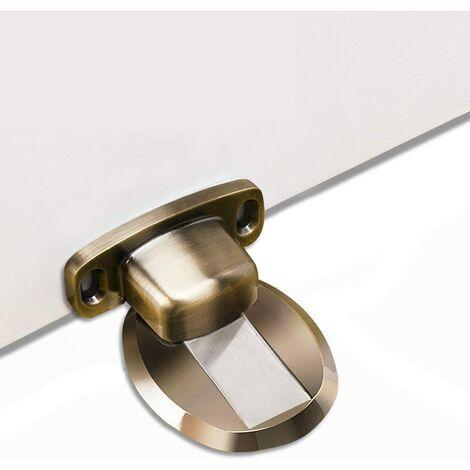 Strong Magnetic Door Stopper Metal Door Stop Heavy Duty Door Catch with 3M Self Adhesive Conceal Screws Floor Mounted - Bronze