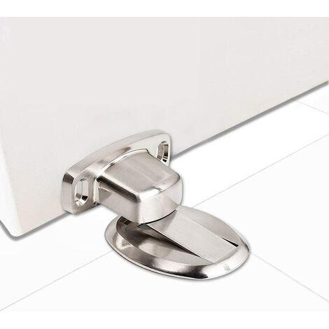 Strong Magnetic Door Stopper Metal Door Stop Heavy Duty Door Catch with 3M Self Adhesive Conceal Screws Floor Mounted - Silver