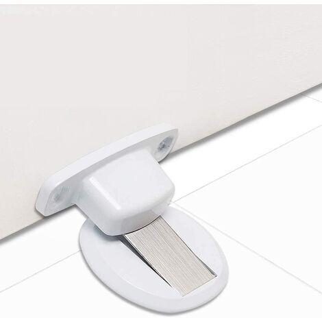 Strong Magnetic Door Stopper Metal Door Stop Heavy Duty Door Catch with 3M Self Adhesive Conceal Screws Floor Mounted - White