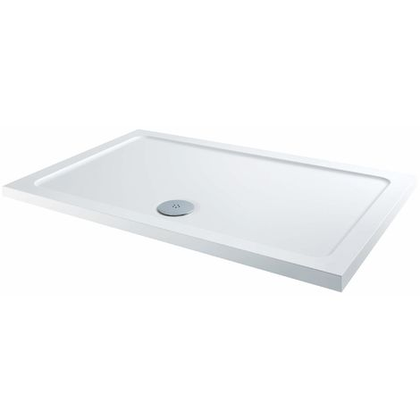 Strong Stone Resin Rectangular Slim Line Shower Tray 50mm high waste included Bathroom corner Tray