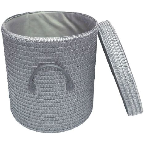 Strong Woven Round Grey White Lidded Laundry Storage Basket Bin Lined PVC Handle