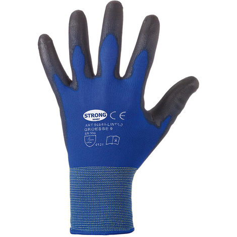 Stronghand Feinstrickhandschuh Lintao PU blau Gr. 8 (Inh. 12 Paar)