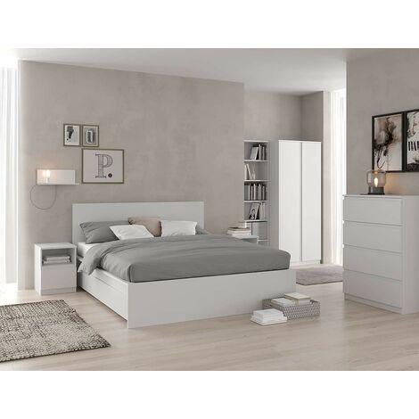 Structure Lit double 214x177 cm blanc mat avec ensemble de 2 tiroirs série Helsinki | Blanc
