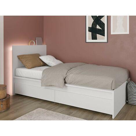 Structure Lit simple 214x107 cm blanc mat avec ensemble de 2 tiroirs série Helsinki | Blanc