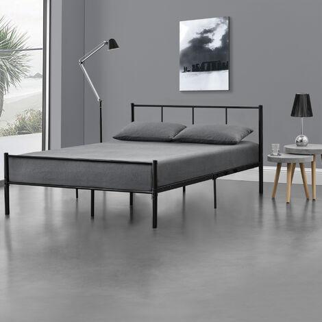 con ampio spazio per adulti e bambini Homemasa dimensioni 200 x 160 x 30 cm Struttura letto matrimoniale in metallo da 1,2 m bianco