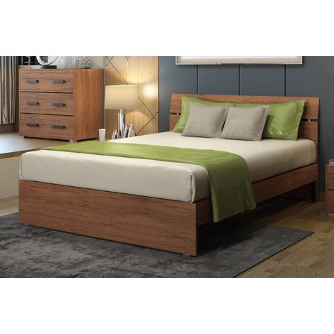 Struttura letto matrimoniale 200x171 cm in legno Noce Country | Noce