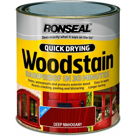 Ronseal QDWSDM250 250ml Woodstain Quick Dry Satin Deep - Mahogany