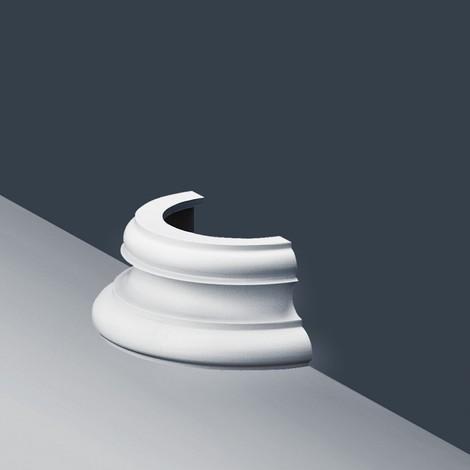 Stuck Halbsäule Orac Decor K1151 LUXXUS Sockel für Säulensegment Wand Dekor Element | 12 cm