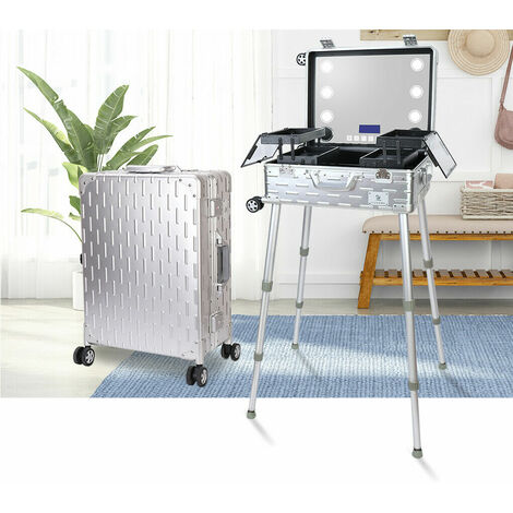 Studio Cosmetic Makeup Show Mirror Barber Travel Rolling Case Light Trolley Luxury Silver