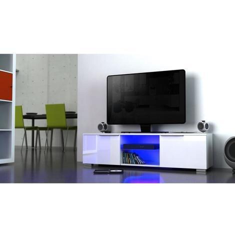 revendeur e5399 8df98 STUDIO Meuble TV avec LED contemporain blanc brillant - L 140 cm - Generique