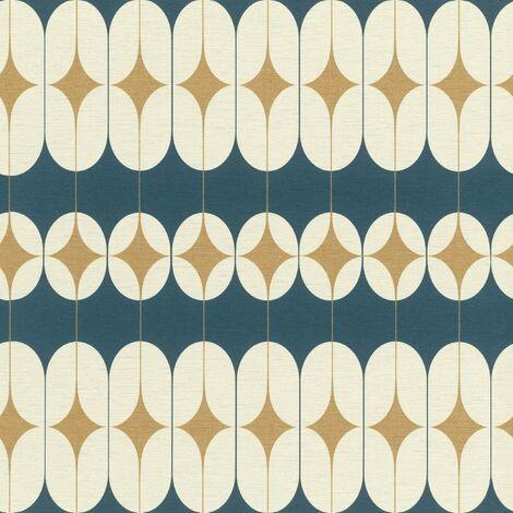 Studio Onszelf Retro Geometric Wallpaper Navy Cream Gold Feature Wall