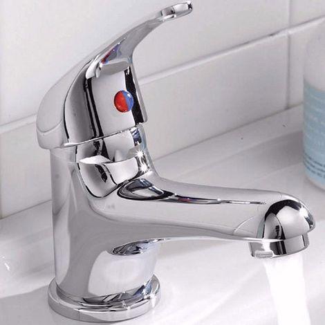 Studio Single Lever Basin Sink Mono Mixer Tap & Slotted Sprung Basin Waste