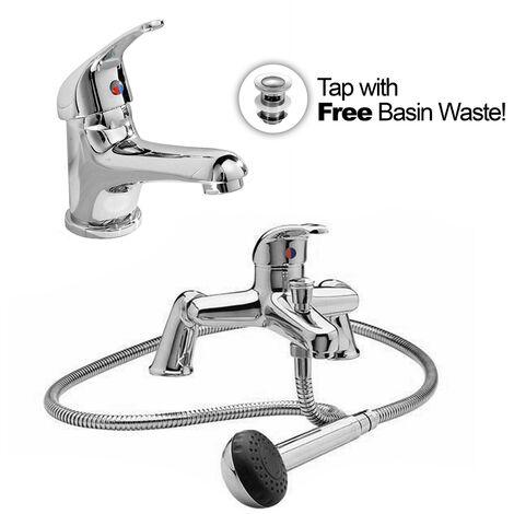 Studio Single Lever Bathroom Basin Mono Mixer Bath Shower Mixer Tap Set With Waste
