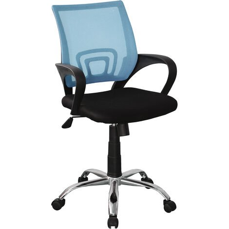study chair in blue mesh back, black fabric seat with chrome base