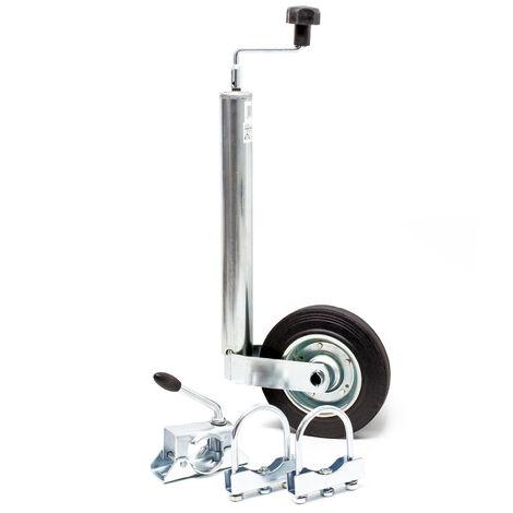Stützrad für Anhänger inkl. Klemmhalter & Schellen, bis 150 kg Stützlast, 48 mm