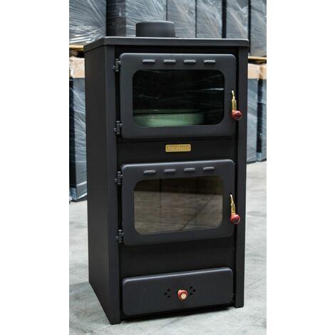 Stufa a legna con forno 8 11kw fornello acciaio ideale for Cucinare per 50