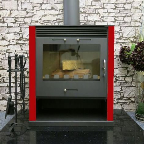 """main image of """"Stufa a legna Rubin - 21 kW in acciaio bicolore antracite/rosso con design e vista fuoco mozzafiato"""""""